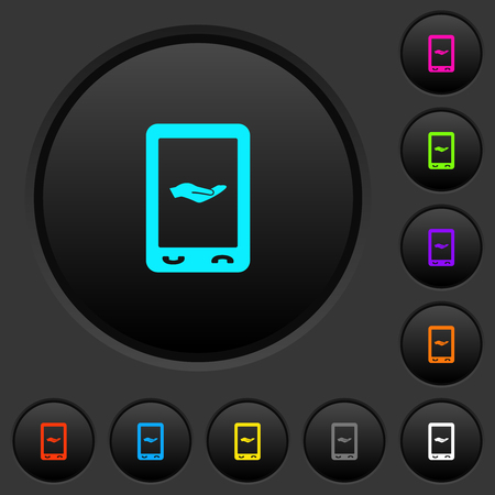 Mobile services dark push buttons with vivid color icons on dark grey background