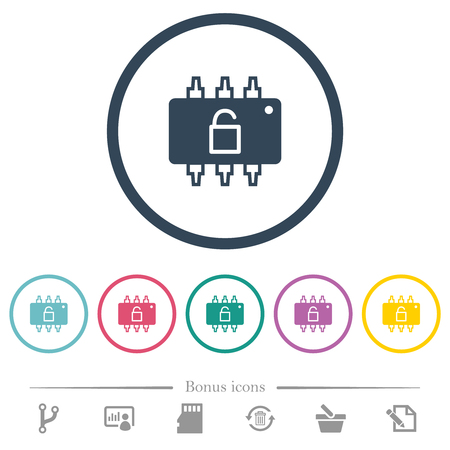 Hardware unlocked flat color icons in round outlines. 6 bonus icons included. Illustration