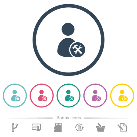 User account tools flat color icons in round outlines. 6 bonus icons included.