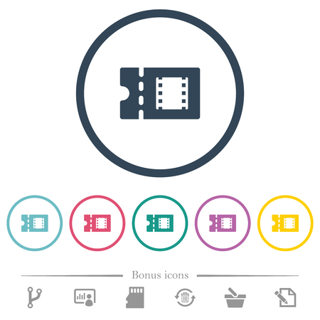 Movie discount coupon flat color icons in round outlines. 6 bonus icons included.