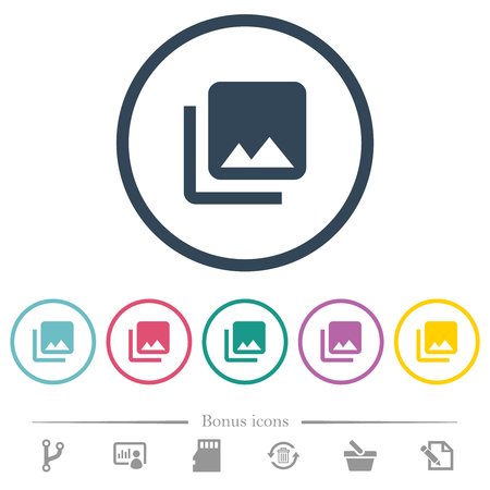 Photo library flat color icons in round outlines. 6 bonus icons included.