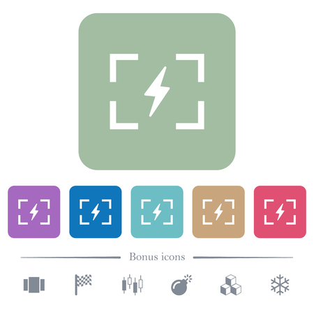 Camera flash mode white flat icons on color rounded square backgrounds. 6 bonus icons included