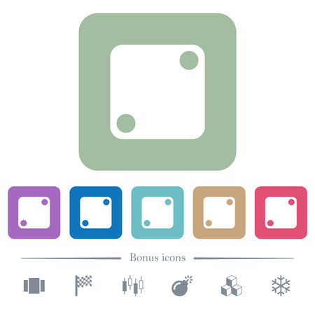 Domino two white flat icons on color rounded square backgrounds. 6 bonus icons included Vectores