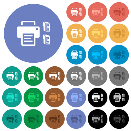 Printer and ink cartridges multi colored flat icons on round backgrounds. Included white, light and dark icon variations for hover and active status effects, and bonus shades.