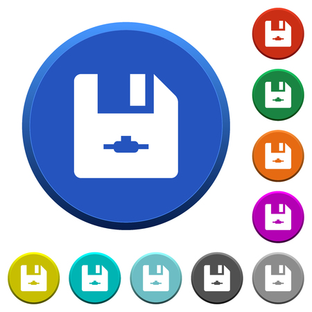 Network file round color beveled buttons with smooth surfaces and flat white icons