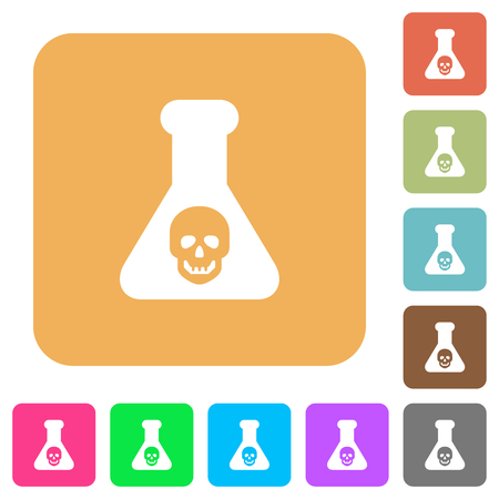 Dangerous chemical experiment flat icons on rounded square vivid color backgrounds.