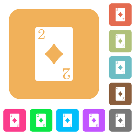 Two of diamonds card flat icons on rounded square vivid color backgrounds.
