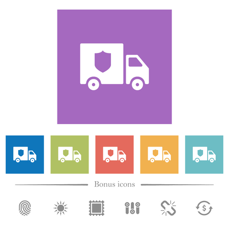 Money deliverer truck flat white icons in square backgrounds. 6 bonus icons included.