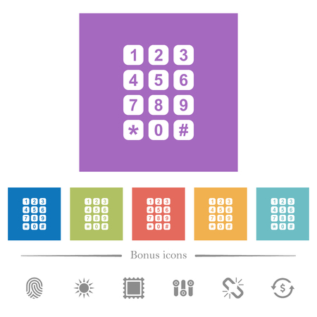 Numeric keypad flat white icons in square backgrounds. 6 bonus icons included. Illustration