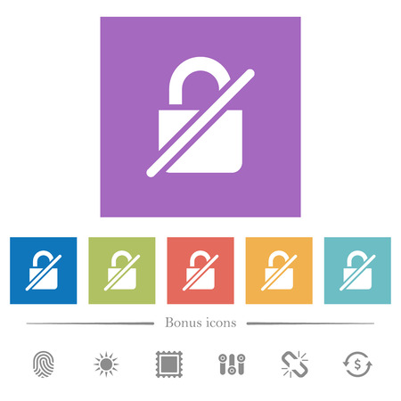 Unprotected flat white icons in square backgrounds. 6 bonus icons included.