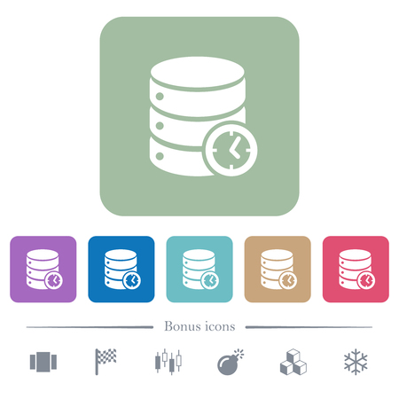 Database timed events white flat icons on color rounded square backgrounds. 6 bonus icons included