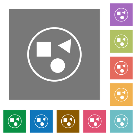 Grouping elements flat icons on simple color square backgrounds Ilustrace