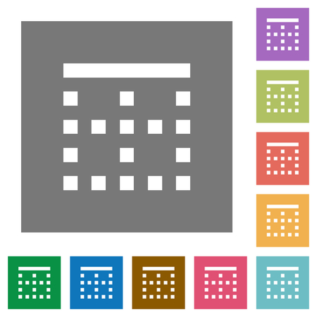 Top border flat icons on simple color square backgrounds