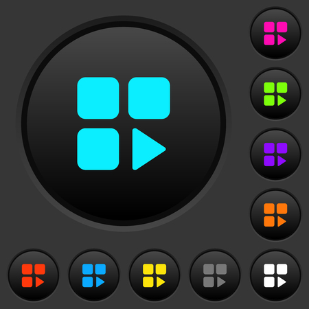 Component play dark push buttons with vivid color icons on dark grey background