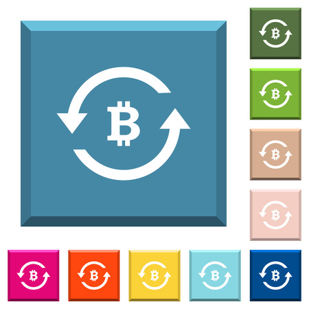 Bitcoin pay back white icons on edged square buttons in various trendy colors
