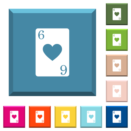 Six of hearts card white icons on edged square buttons in various trendy colors
