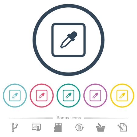 Get object color flat color icons in round outlines. 6 bonus icons included. Vectores