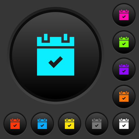 Schedule done dark push buttons with vivid color icons on dark grey background Illusztráció