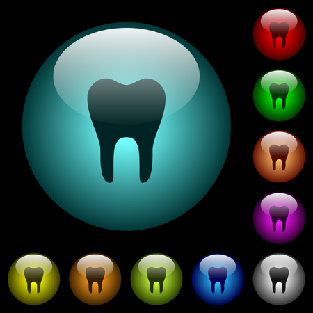 Single tooth icons in color illuminated spherical glass buttons on black background. Can be used to black or dark templates