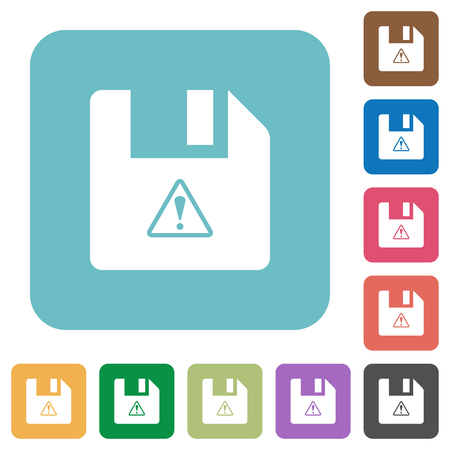 File warning white flat icons on color rounded square backgrounds
