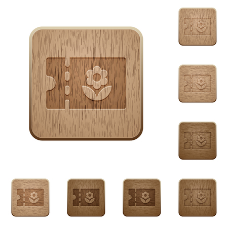 Flower shop discount coupon on rounded square carved wooden button styles 矢量图像