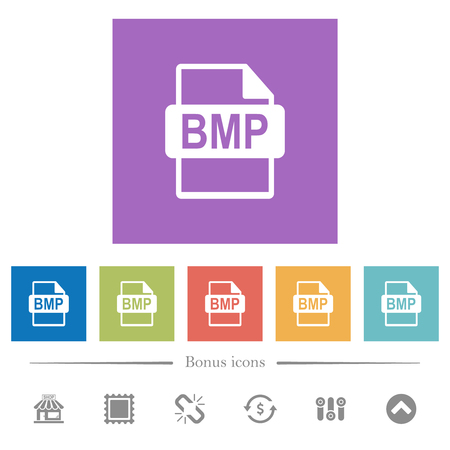 BMP file format flat white icons in square backgrounds. 6 bonus icons included. Illustration