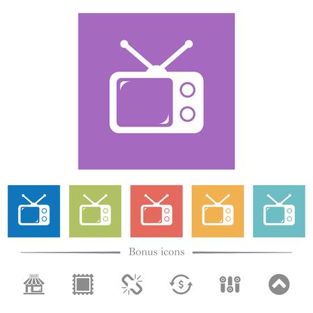 Vintage retro television flat white icons in square backgrounds. 6 bonus icons included. Ilustração