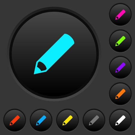 Pencil dark push buttons with vivid color icons on dark grey background