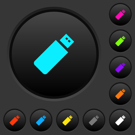 Pendrive dark push buttons with vivid color icons on dark grey background