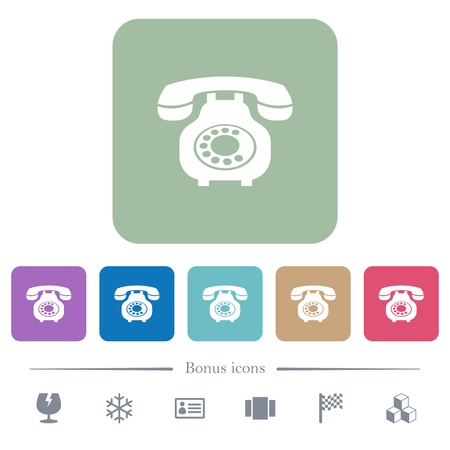 Vintage retro telephone white flat icons on color rounded square backgrounds. 6 bonus icons included