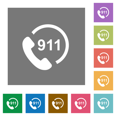 Emergency call 911 flat icons on simple color square backgrounds