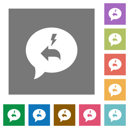 Quick reply message flat icons on simple color square backgrounds