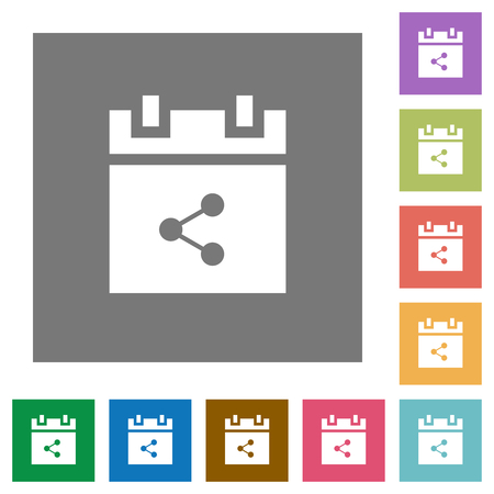 Share schedule item flat icons on simple color square backgrounds
