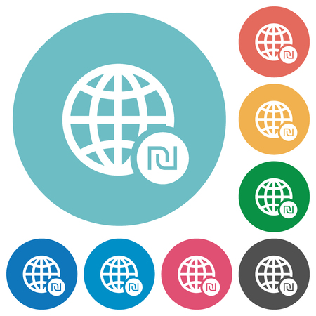 Online Shekel payment flat white icons on round color backgrounds Illustration