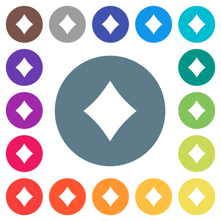 Diamond card symbol flat white icons on round color backgrounds. 17 background color variations are included.