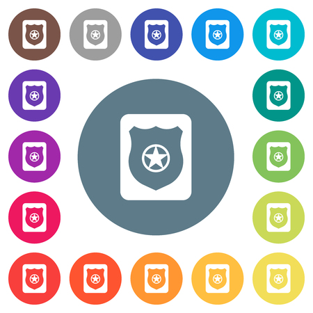 Police badge flat white icons on round color backgrounds. 17 background color variations are included.