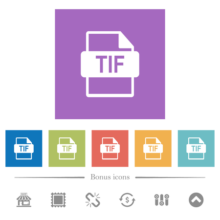 TIF file format flat white icons in square backgrounds. 6 bonus icons included.