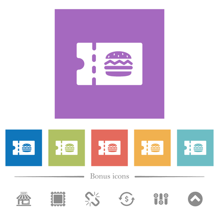 Fast food restaurant discount coupon flat white icons in square backgrounds. 6 bonus icons included. Illustration