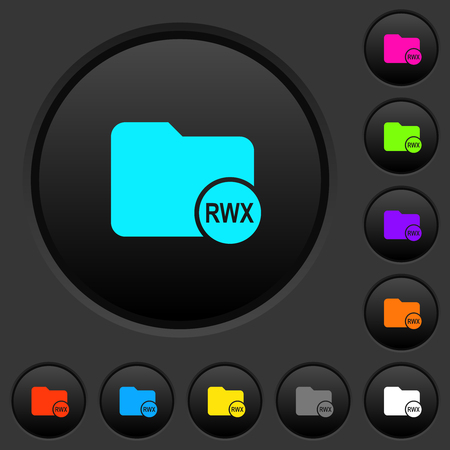 Directory permissions dark push buttons with vivid color icons on dark grey background