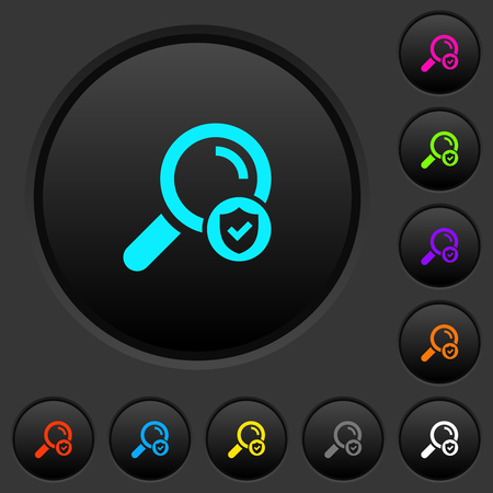 Safe search dark push buttons with vivid color icons on dark grey background