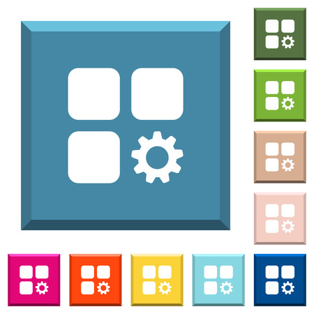 Component settings white icons on edged square buttons in various trendy colors Illustration