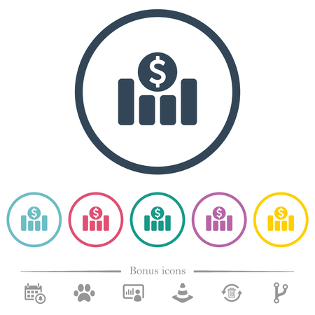 Dollar financial graph flat color icons in round outlines. 6 bonus icons included.