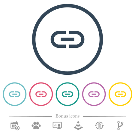Insert link flat color icons in round outlines. 6 bonus icons included.