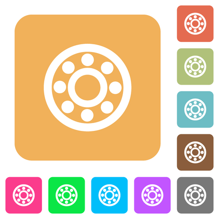 Bearings flat icons on rounded square vivid color backgrounds.