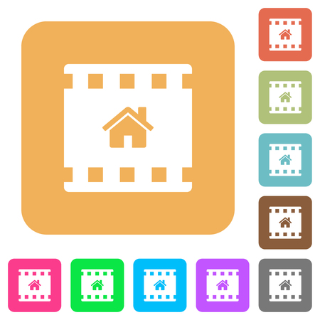 Home movie flat icons on rounded square vivid color backgrounds.