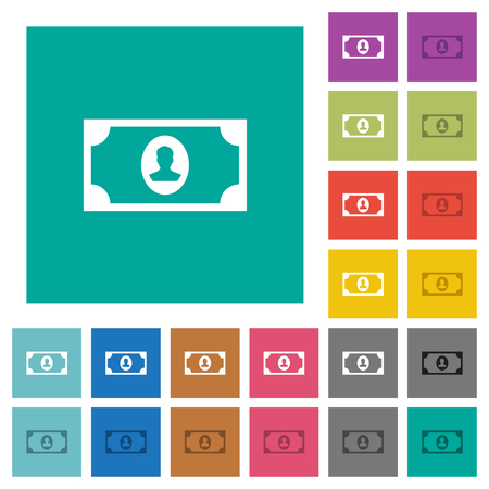 Single banknote  with portrait multi colored flat icons on plain square backgrounds. Included white and darker icon variations for hover or active effects. Illustration