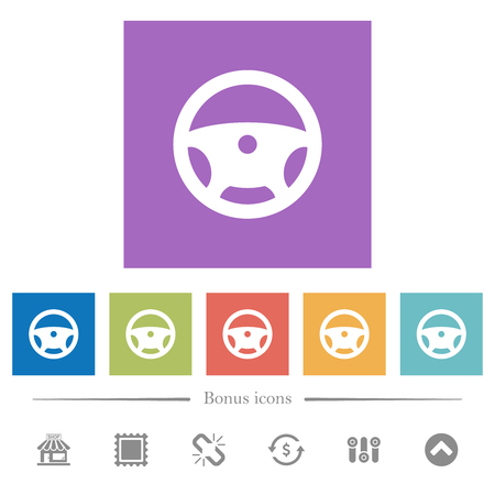 Steering wheel flat white icons in square backgrounds. 6 bonus icons included. Иллюстрация
