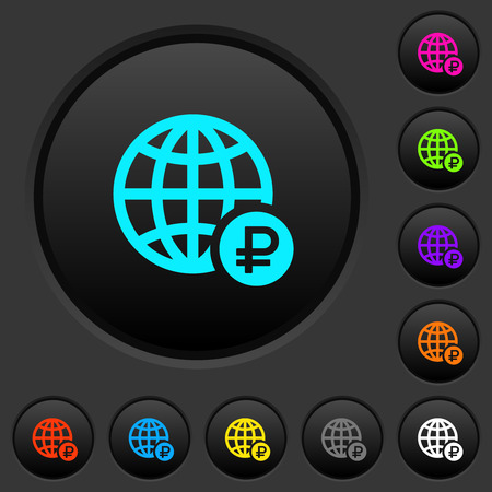 Online Ruble payment dark push buttons with vivid color icons on dark grey background