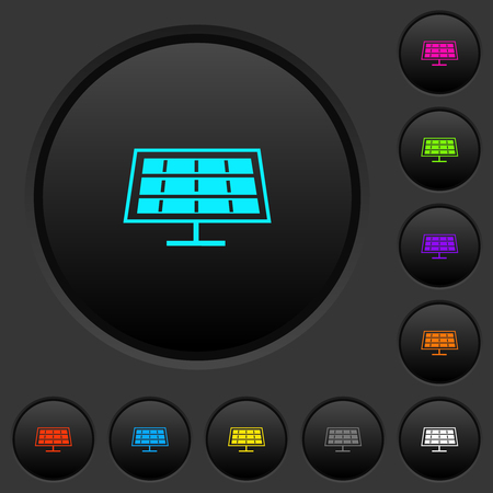 Solar panel dark push buttons with vivid color icons on dark grey background