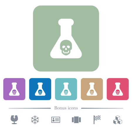 Dangerous chemical experiment white flat icons on color rounded square backgrounds. 6 bonus icons included Ilustrace